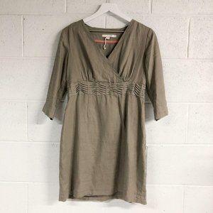 Boden Taupe Linen Sheath Dress Shirred Waist
